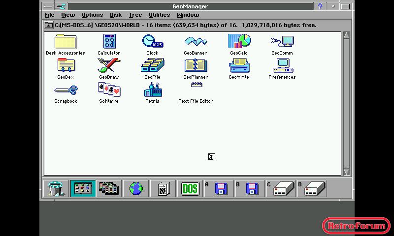 Desktop Geoworks Ensemble 2.0 onder QEmu op de Openpandora